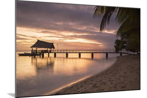 Jetty on Leleuvia Island at Sunset, Lomaiviti Islands, Fiji, South Pacific, Pacific-Ian Trower-Mounted Photographic Print