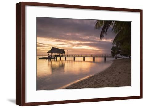 Jetty on Leleuvia Island at Sunset, Lomaiviti Islands, Fiji, South Pacific, Pacific-Ian Trower-Framed Art Print