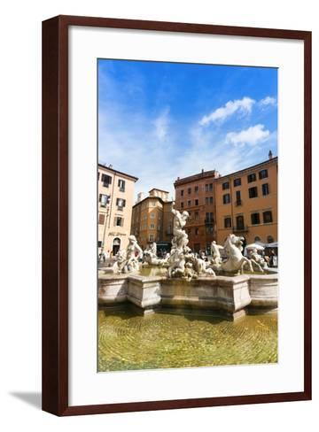 Fountain of Neptune, Piazza Navona, Rome, UNESCO World Heritage Site, Latium, Italy, Europe-Nico Tondini-Framed Art Print