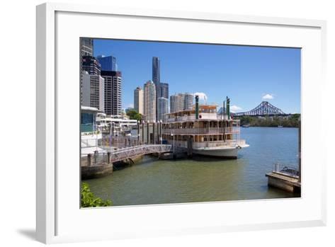 Brisbane River, Story Bridge and City Reach Boardwalk, Brisbane, Queensland, Australia, Oceania-Frank Fell-Framed Art Print
