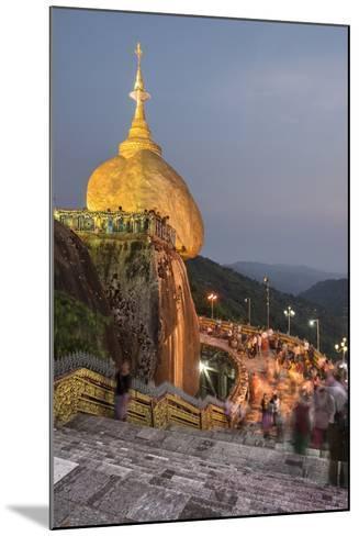 Golden Rock (Kyaiktiyo Pagoda) at Night, a Buddhist Temple in Mon State, Myanmar (Burma), Asia-Matthew Williams-Ellis-Mounted Photographic Print