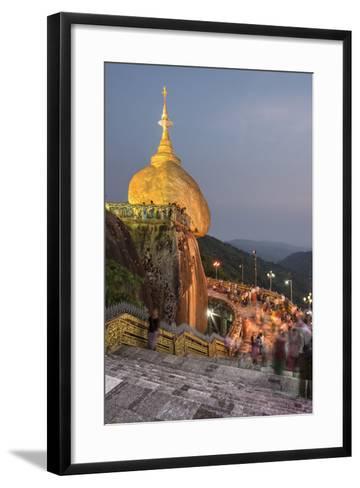 Golden Rock (Kyaiktiyo Pagoda) at Night, a Buddhist Temple in Mon State, Myanmar (Burma), Asia-Matthew Williams-Ellis-Framed Art Print