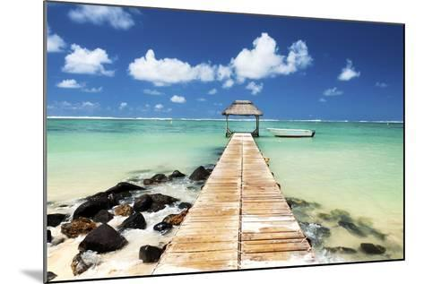 Jetty and Boat on the Turquoise Water, Black River, Mauritius, Indian Ocean, Africa-Jordan Banks-Mounted Photographic Print
