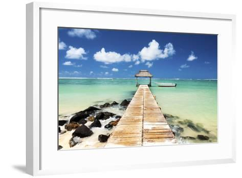 Jetty and Boat on the Turquoise Water, Black River, Mauritius, Indian Ocean, Africa-Jordan Banks-Framed Art Print