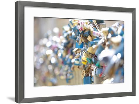 Czech Republic, Prague - Abundance of Love Padlocks on Railings--Framed Art Print