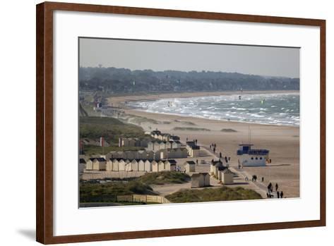 View over Plage De Riva Bella Beach, Ouistreham, Normandy, France, Europe-Stuart Black-Framed Art Print