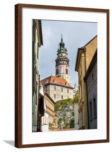 View Through the Gothic House Facades to the Krumlov Castle, Cesky Krumlov, Czech Republic, Europe-Michael Runkel-Framed Art Print