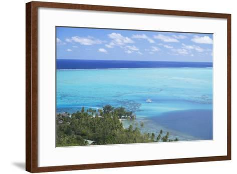 View of Yacht in Lagoon, Bora Bora, Society Islands, French Polynesia, South Pacific, Pacific-Ian Trower-Framed Art Print