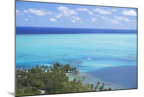 View of Yacht in Lagoon, Bora Bora, Society Islands, French Polynesia, South Pacific, Pacific-Ian Trower-Mounted Photographic Print