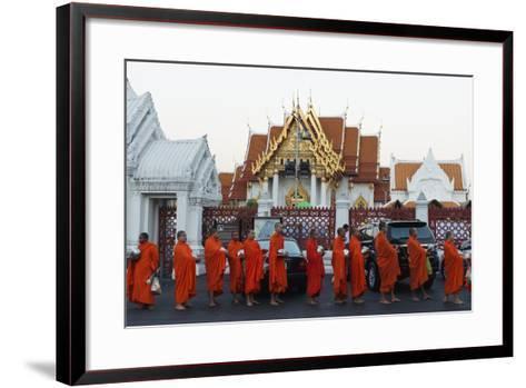Monks Collecting Morning Alms, the Marble Temple (Wat Benchamabophit), Bangkok, Thailand-Christian Kober-Framed Art Print