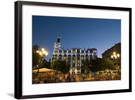 People Relaxing in In the Evening in Plaza De Santa Ana in Madrid, Spain, Europe-Martin Child-Framed Art Print