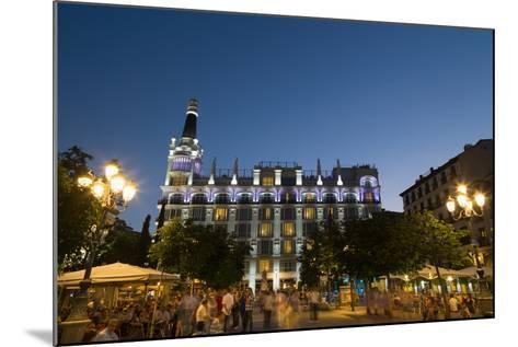 People Relaxing in In the Evening in Plaza De Santa Ana in Madrid, Spain, Europe-Martin Child-Mounted Photographic Print