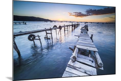 Lake Titicaca Pier at Sunset, Copacabana, Bolivia, South America-Matthew Williams-Ellis-Mounted Photographic Print