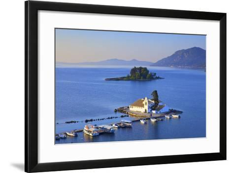 Elevated View to Vlacherna Monastery and the Church of Pantokrator on Mouse Island, Greek Islands-Neil Farrin-Framed Art Print