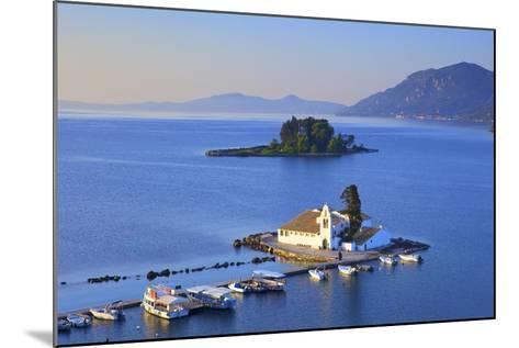 Elevated View to Vlacherna Monastery and the Church of Pantokrator on Mouse Island, Greek Islands-Neil Farrin-Mounted Photographic Print