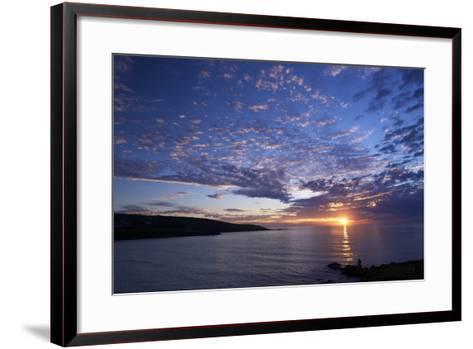 Sunset over Porthmeor Beach in St. Ives, Cornwall, England, United Kingdom, Europe-Peter Barritt-Framed Art Print