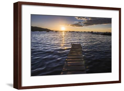 Lake Titicaca Pier at Sunset, Copacabana, Bolivia, South America-Matthew Williams-Ellis-Framed Art Print