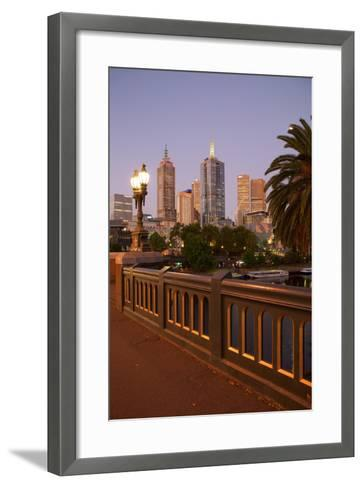City Skyline from Princes Bridge at Dusk, Melbourne, Victoria, Australia, Pacific-Frank Fell-Framed Art Print