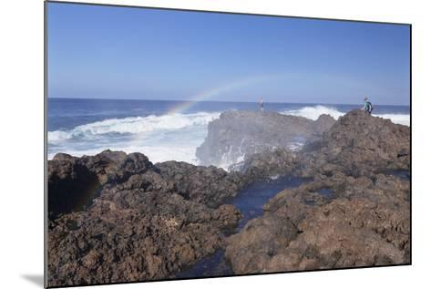 Tourists Watching Waves at the Coast of La Fajana, Barlovento, Canary Islands, Spain, Atlantic-Markus Lange-Mounted Photographic Print