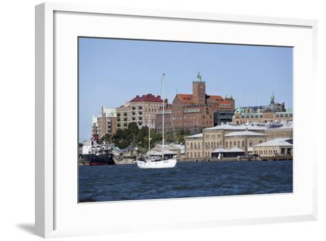 View across the Gota Alv River to Riverfront Buildings, Gothenburg, West Gothland, Sweden-Stuart Black-Framed Art Print