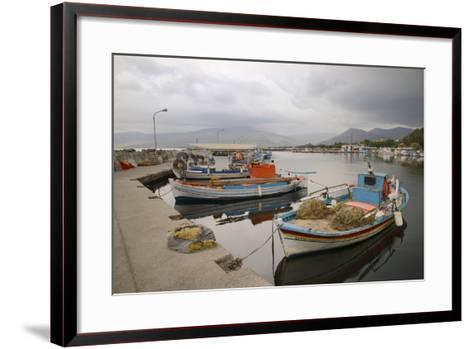 Moored Fishing Boats in Apothika Village Harbour, Greece-Nick Upton-Framed Art Print
