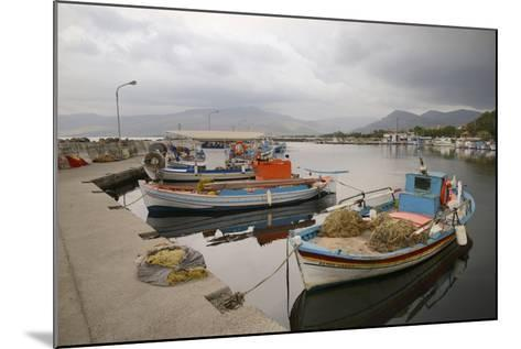 Moored Fishing Boats in Apothika Village Harbour, Greece-Nick Upton-Mounted Photographic Print