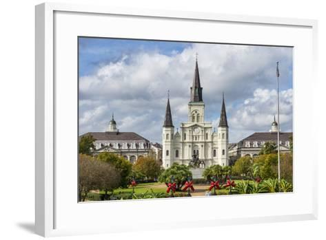 Old Horse Carts in Front of Jackson Square and the St. Louis Cathedral, New Orleans, Louisiana-Michael Runkel-Framed Art Print