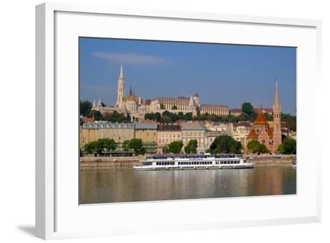The Capuchin Church and in Foreground Matthias Church and Fishermen's Bastion, Hungary-Carlo Morucchio-Framed Art Print