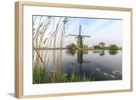 Green Grass Frames the Windmills Reflected in the Canal, Netherlands-Roberto Moiola-Framed Art Print