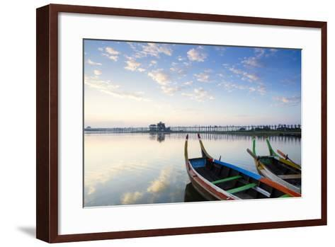 U Bein Teak Bridge and the Taungthaman Lake Near Amarapura, Mandalay, Myanmar (Burma)-Alex Robinson-Framed Art Print