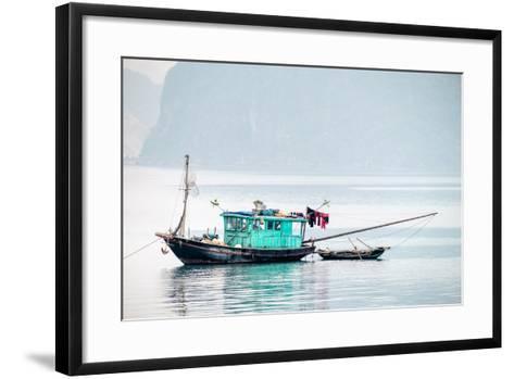 Boats in Ha Long Bay on a Foggy Morning, Quang Ninh Province, Vietnam, Indochina, Southeast Asia-Jason Langley-Framed Art Print
