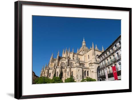 The Imposing Gothic Cathedral of Segovia from Plaza Mayor, Segovia, Castilla Y Leon, Spain, Europe-Martin Child-Framed Art Print