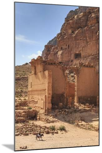 Local Man on Donkey Passes Qasr Al-Bint Temple, Jordan-Eleanor Scriven-Mounted Photographic Print