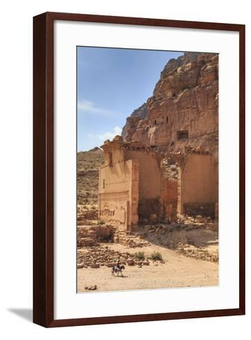 Local Man on Donkey Passes Qasr Al-Bint Temple, Jordan-Eleanor Scriven-Framed Art Print
