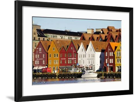 Traditional Wooden Hanseatic Merchants Buildings of the Bryggen, in Harbour, Bergen, Norway-Robert Harding-Framed Art Print