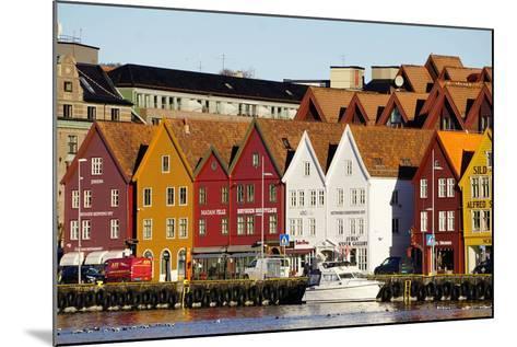 Traditional Wooden Hanseatic Merchants Buildings of the Bryggen, in Harbour, Bergen, Norway-Robert Harding-Mounted Photographic Print