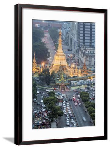The Sule Paya Pagoda in Rushing Traffic, Downtown Yangon, Myanmar (Burma), Southeast Asia-Alex Robinson-Framed Art Print