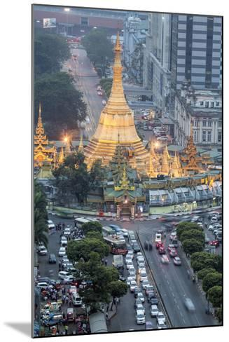 The Sule Paya Pagoda in Rushing Traffic, Downtown Yangon, Myanmar (Burma), Southeast Asia-Alex Robinson-Mounted Photographic Print