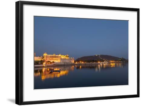 City Palace in Udaipur at Night, Reflected in Lake Pichola, Udaipur, Rajasthan, India, Asia-Martin Child-Framed Art Print