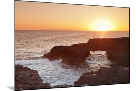 Rock Arch at Sunrise, Charco Manso Bay, Punta Norte Near Echedo, El Hierro, Canary Islands, Spain-Markus Lange-Mounted Photographic Print