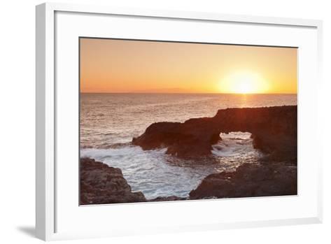 Rock Arch at Sunrise, Charco Manso Bay, Punta Norte Near Echedo, El Hierro, Canary Islands, Spain-Markus Lange-Framed Art Print