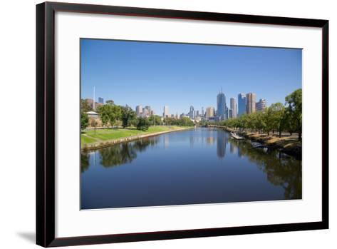 Yarra River and City Skyline, Melbourne, Victoria, Australia, Pacific-Frank Fell-Framed Art Print
