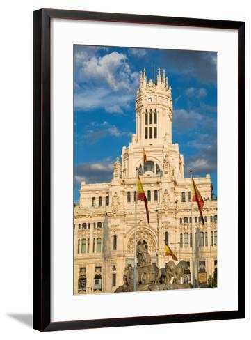Fountain and Cybele Palace, Formerly the Palace of Communication, Plaza De Cibeles, Madrid, Spain-Martin Child-Framed Art Print