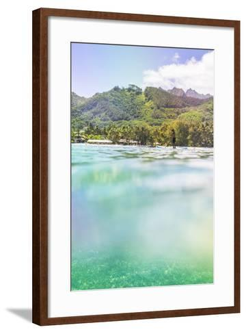 Paddleboarding in Muri Lagoon with Rarotonga in the Background, Cook Islands, Pacific-Matthew Williams-Ellis-Framed Art Print