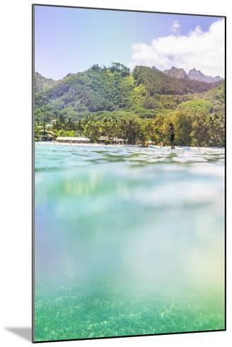 Paddleboarding in Muri Lagoon with Rarotonga in the Background, Cook Islands, Pacific-Matthew Williams-Ellis-Mounted Photographic Print