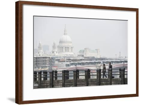 Couple on a Pier Overlooking St. Paul's Cathedral on the Banks of the River Thames, London, England-Matthew Williams-Ellis-Framed Art Print