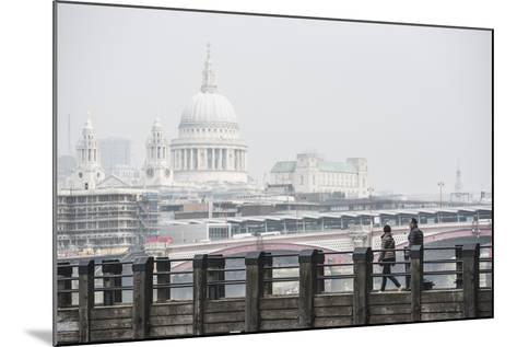 Couple on a Pier Overlooking St. Paul's Cathedral on the Banks of the River Thames, London, England-Matthew Williams-Ellis-Mounted Photographic Print