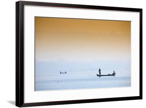 Fishermen on Taungthaman Lake Near Amarapura, Mandalay, Myanmar (Burma), Southeast Asia-Alex Robinson-Framed Art Print