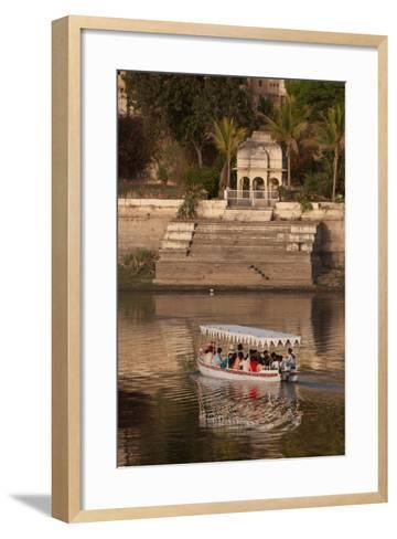 Tourists on a Boat on Lake Pichola in Udaipur, Rajasthan, India, Asia-Martin Child-Framed Art Print