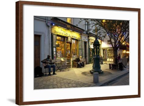 Store at Dusk, Paris, Ile-De-France, France--Framed Art Print